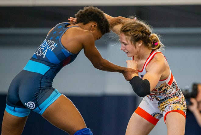 Olympic qualifier Sarah Hildebrandt, a former Penn High School Wrestler, right, wrestles Erin Golston, of the US National Team, during the United States WomenÕs Olympic Wrestling Team training camp at Saint MaryÕs College on Tuesday, June 29, 2021, in South Bend.