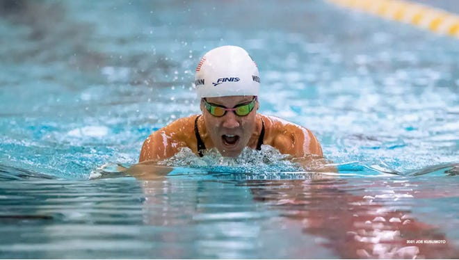 Mallory Weggemann competes in the Paralympic team trials in Minneapolis, Minnesota.