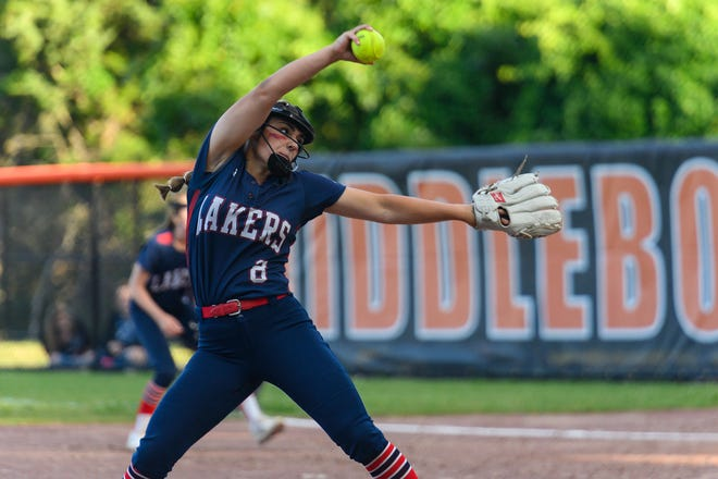 Apponequet's Jillian Rogers delivers a pitch in MIAA Division 2 South Sectional softball tournament action back on June 23. Middleboro took a 2-0 win in what was an exciting game by all reports.