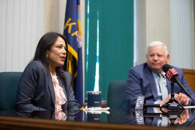 Topeka City Council will move through its budget process in July. Topeka Mayor Michelle De La Isla, left, with city manager Brent Trout, said the city is investing in the Strategies Against Violence Everywhere program.