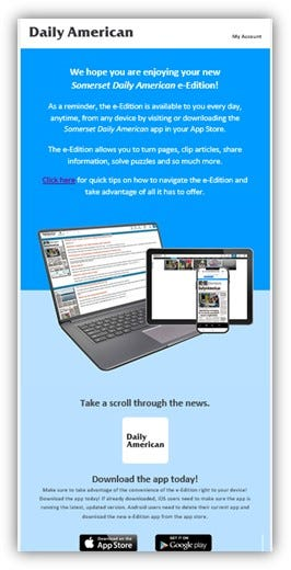 The Daily American is switching to a new e-Edition starting today.