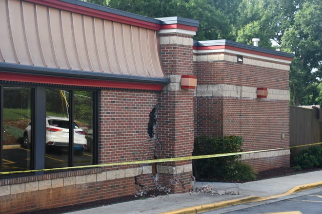 The Wendy's at Eric Lane in Burlington was damaged when it was hit by a vehicle.