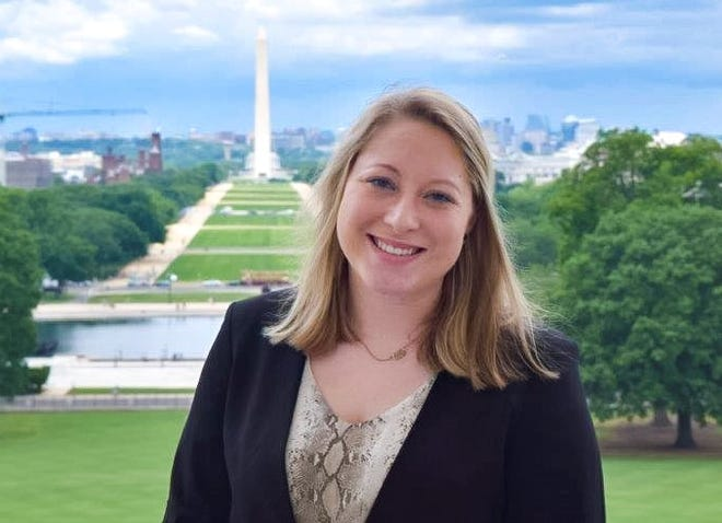 Claire Hollenbeck of Fort Smith stands on the Speaker's Balcony in Washington, D.C. She is pending eight weeks this summer in the nation's capital as the John Paul Hammerschmidt Research Fellow.