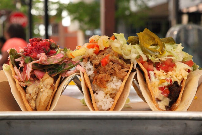 """These three """"epic"""" tacos, (from left) the Hot Summer Dream, Good Wolf and Phanatic Phil, will be on the menu at Agave & Rye, which will replace Spagio in September at 1295 Grandview Ave. in Grandview Heights."""
