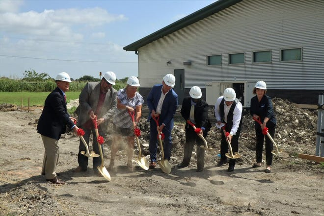 Ellis County dignitaries participate in a groundbreaking for the new Juvenile Justice Alternative Education Center on Friday at the Ellis County Farm. Taking part are (left to right): Judge Bob Carroll of the 40th District Court, County Precinct 2 Commissioner Lane Grayson, Italy ISD Superintendent Rachel Kistner, Ennis ISD Superintendent Jay Tullos, JJAEP Administrator Darrin Robinson, County Judge Todd Little, and Midlothian ISD Assistant Superintendent of Human Resources & Student Services KayLynn Day.