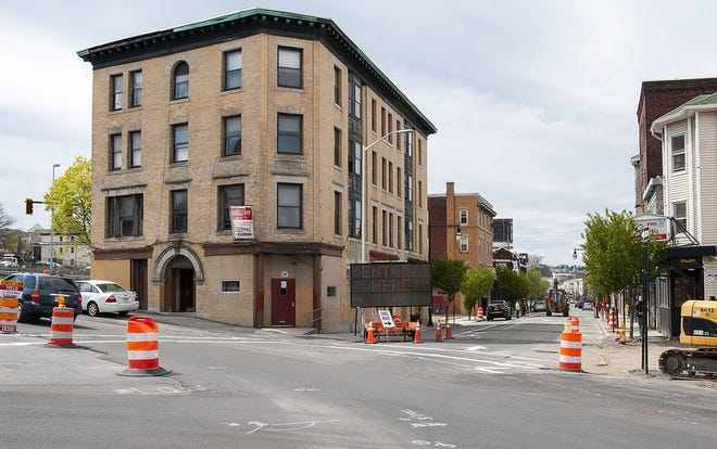 The Hotel Vernon, during the recent reconstruction of Kelley Square.