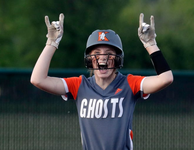 Kaukauna's Taryn Christopher (22) celebrates on second base during a Division 1 state softball semifinal against Burlington on June 28, 2021, at King Park in Green Bay, Wis.