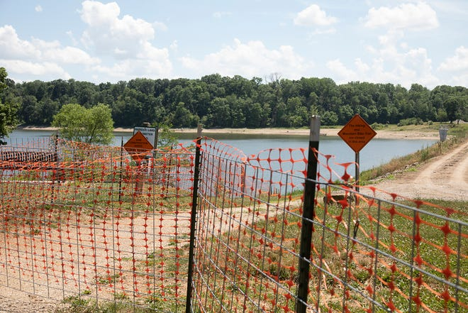 The dam pathway remains closed as work continues the Hargus Lake dam at A.W. Marion State Park in Circleville. Work is expected to continue through 2022.