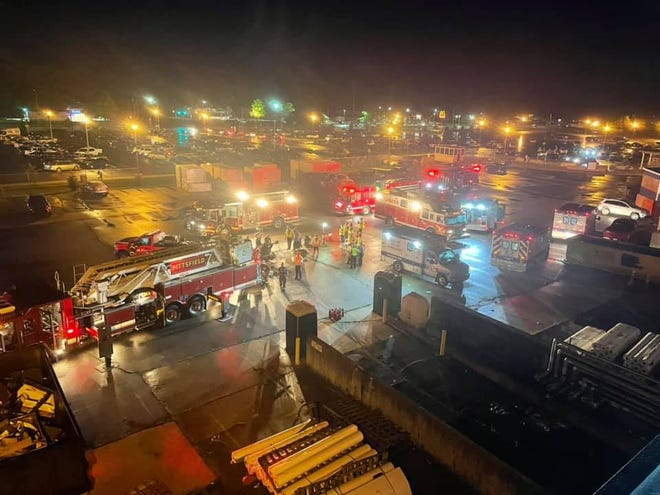 Fire trucks the night of the incident.