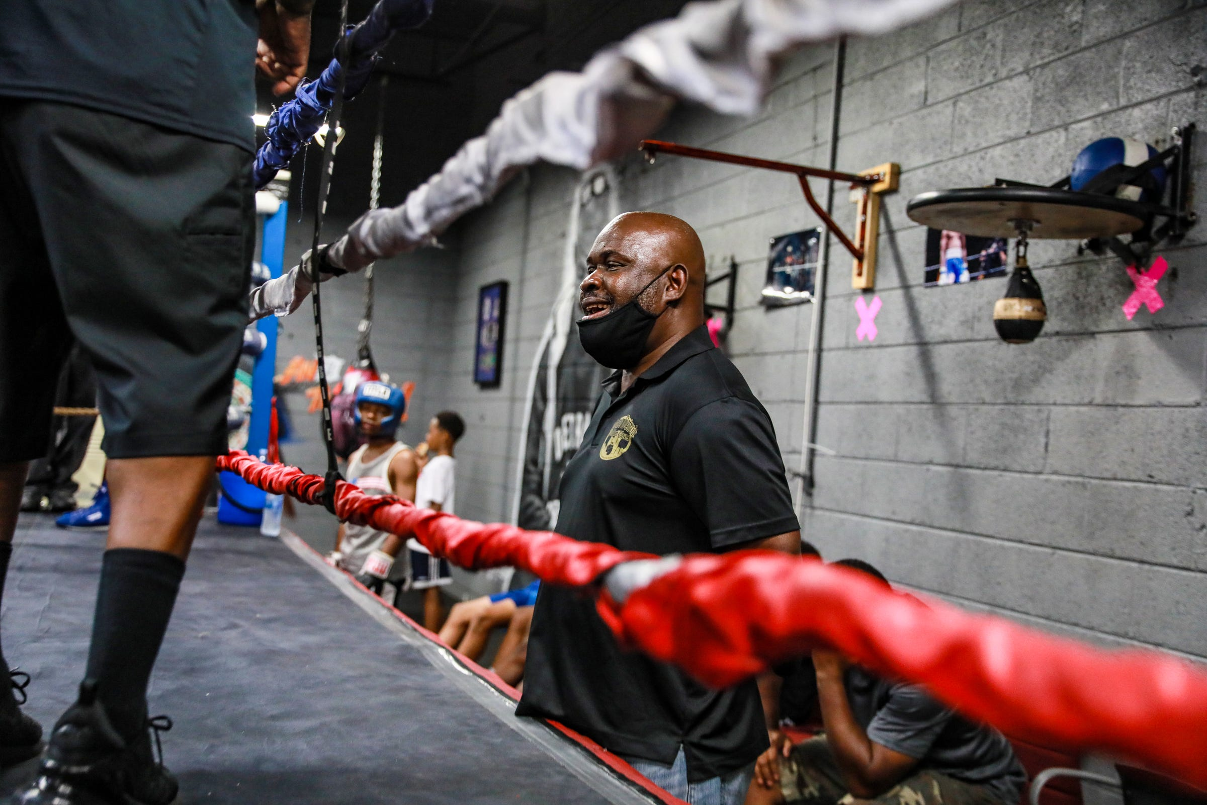 Ansel Stewart watches sparring matches at the SuperBad Boxing Gym in Detroit on Saturday, June 5, 2021.