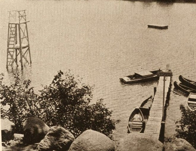 A boat dock extends into the river near Buckland Avenue in the 1930s.