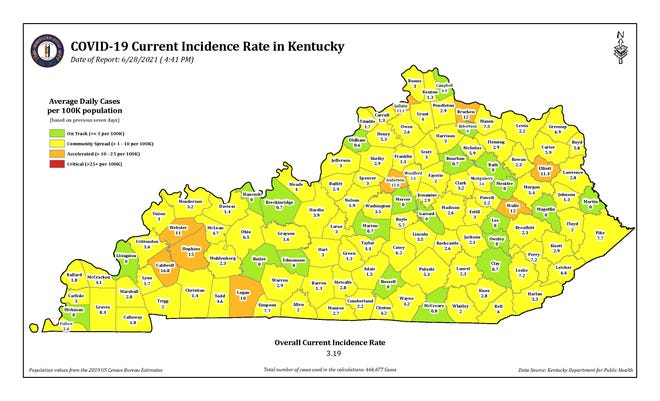 The COVID-19 current incidence rate map for Kentucky as of Monday, June 28.