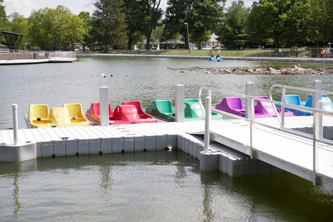 Pedal boats sit along the Columbian Park Lagoon dock, Tuesday, June 29, 2021 in Lafayette.