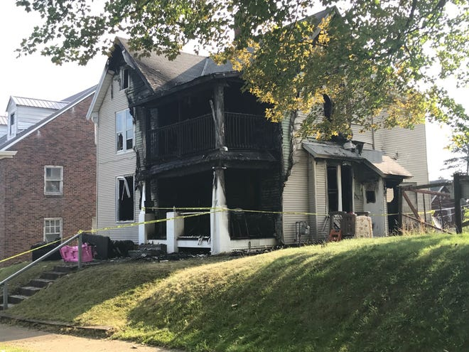A fire around 9 p.m. heavily damaged a house at 132 Rowland Ave. Witnesses saw two males running from the scene. A red gas can was found outside a door to the house. The resident was not at home at the time of the fire.