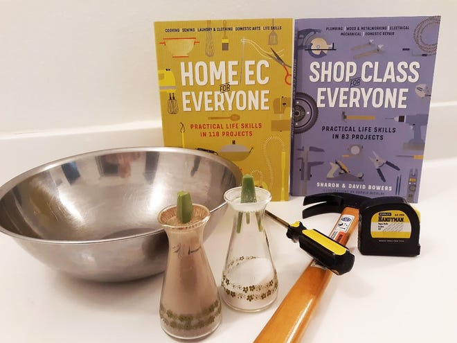 """""""Home Ec for Everyone"""" and """"Shop Class for Everyone,"""" both by Sharon & David Bowers, illustrated by Sophia Nicolay."""