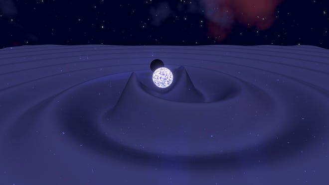 This image is an artistic representation of the gravitational waves, or disturbances in the fabric of spacetime, generated by the inspiral of a neutron star and a black hole moments before their merger. The energy radiated away by the gravitational waves causes the orbit to decay and the bodies to merge. (Mark Myers, OzGrav, Swinburne University)