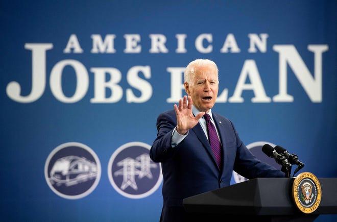 US President Joe Biden speaks about the administration's infrastructure plans after touring the La Crosse Municipal Transit Utility in La Crosse, Wisconsin, June 29, 2021.