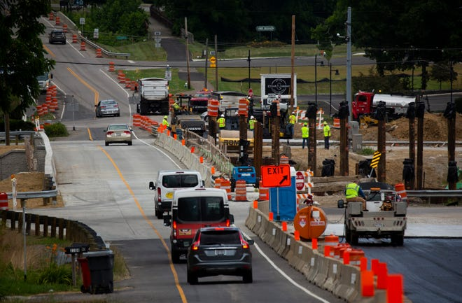 Construction continues on the bridge along State Route 37, crossing over State Route 16, into Granville, Ohio on June 29, 2021.