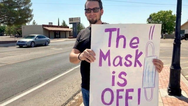 Justin Barnes was one of a handful of concerned citizens protesting the student mask policy for school reentry and in-person learning. The demonstration took place in front of the Emmett Shockley Administration Building for the Deming Public Schools, 400 Cody Road.