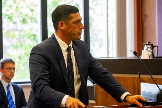 St. Clair County Assistant Prosecuting Attorney Joshua Sparling makes his opening statement in the trial for John Varndell Jr. Tuesday, June 29, 2021, in Port Huron.