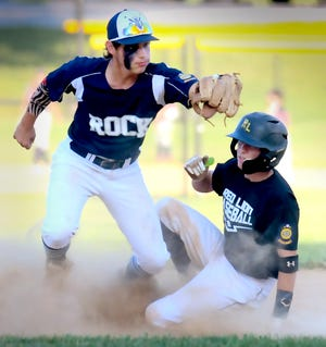Glen Rock's Luke Geiple takes a late throw as Red Lion's Sam Koons advances to second during American Legion baseball at Glen Rock Monday, June 28, 2021. Bill Kalina photo