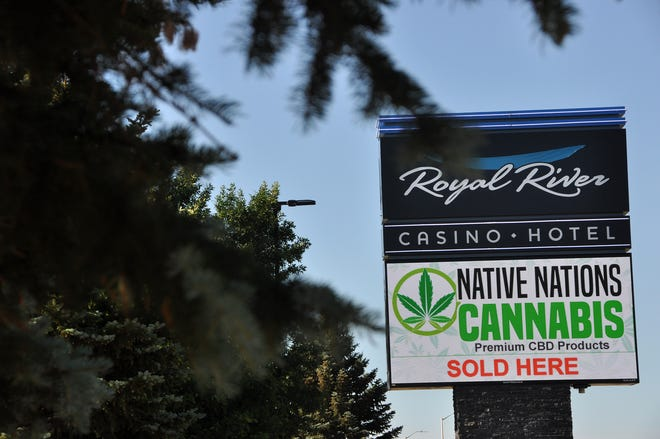 A digital billboard at Royal River Casino advertises for Native Nations Cannabis on the Flandreau Santee Sioux Tribe reservation Tuesday.