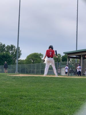 Connor Hanson prepares to bat at the Sunshine Foods tournament in Brandon on Sunday, June 20, 2021.