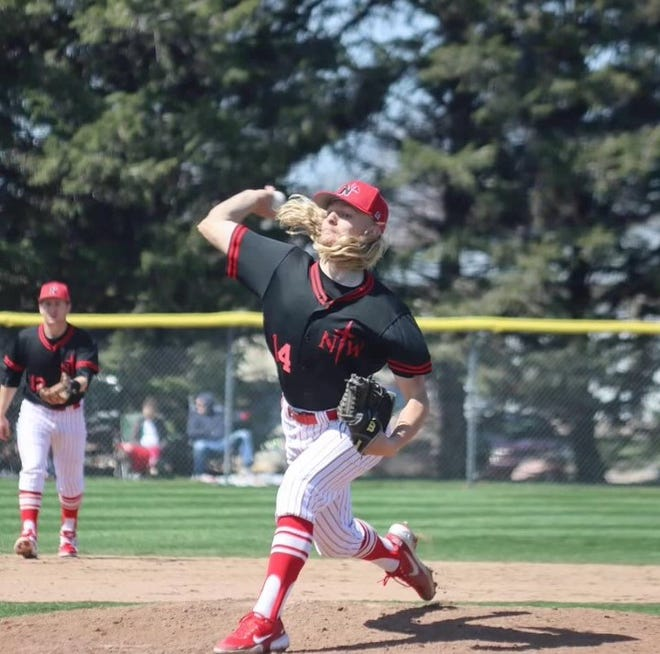 Brandon native Dylan Kirkeby pitches for Northwestern College in the spring of 2021. He pitched a no-hitter for Akron, Iowa in June.