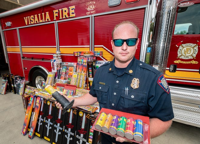 Visalia Fire Department Fire Marshal Corbin Reed displays just about 3/4 of the illegal fireworks confiscated so far this year.  In an effort to reduce illegal fireworks use, the City of Visalia has doubled the fine to $2,000 for those caught. Fines for repeat offenders go up to $4,000.  To report illegal fireworks call 559-513-8080.