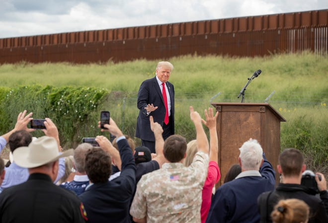 Former President Donald Trump arrives for a speech at the unfinished border wall in Pharr on June 30.