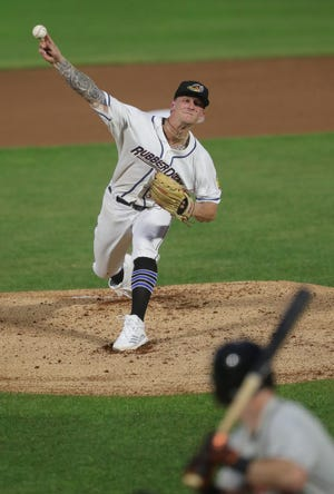 Cleveland's Zach Plesac throws a first inning pitch during a rehab assignment with the Akron RubberDucks against Bowie on Tuesday, June 29, 2021 in Akron, Ohio, at Canal Park. [Phil Masturzo/ Beacon Journal]