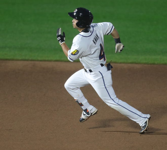 Akron RubberDucks Steven Kwan legs out a first-inning triple against Bowie on Tuesday, June 29, 2021 in Akron, Ohio, at Canal Park.  [Phil Masturzo/ Beacon Journal]