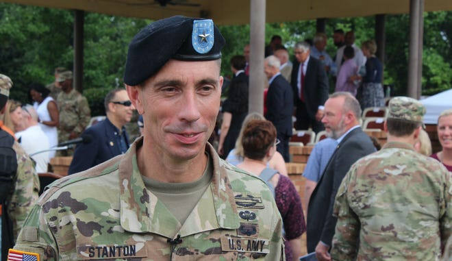 Brig. Gen. Paul T. Stanton, new commander of Fort Gordon and the Army Cyber Center of Excellence, speaks to press after the change of command ceremony on Wednesday, June 30.