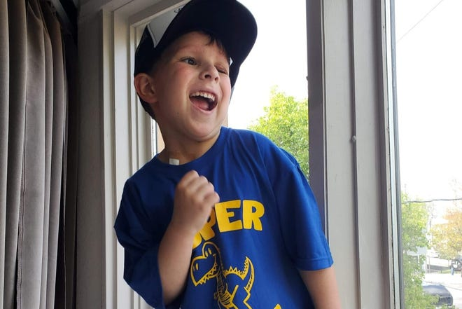 Oliver Rumiser in high spirits after being diagnosed with rhabdomyosarcoma
