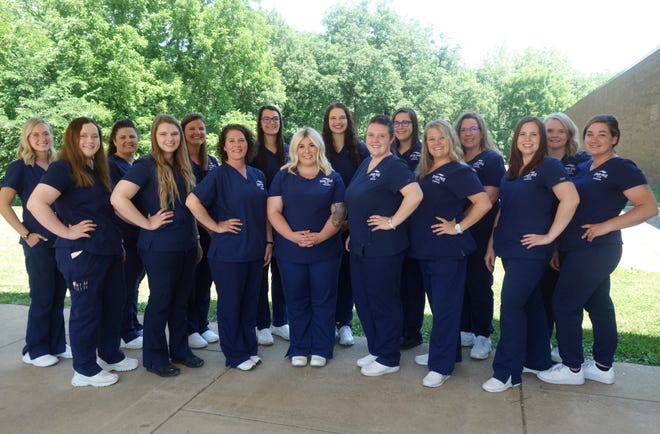 Pictured are (front, l-r) Taylor Sims, Mackenzie Rhoads, Katy Bucco, Sydnee George, Brook Massingale, Kara Taylor, Emily Connett, Tara Murphy and (back row) Madison Merritt, Mindy Miller, Mary Rose, Alexandrea Neve, Cassidy Locke, Emerald DeWitt, Dana Wesley, and Mary King. Individual pictures of the students can be viewed on the Spoon River College Facebook page.