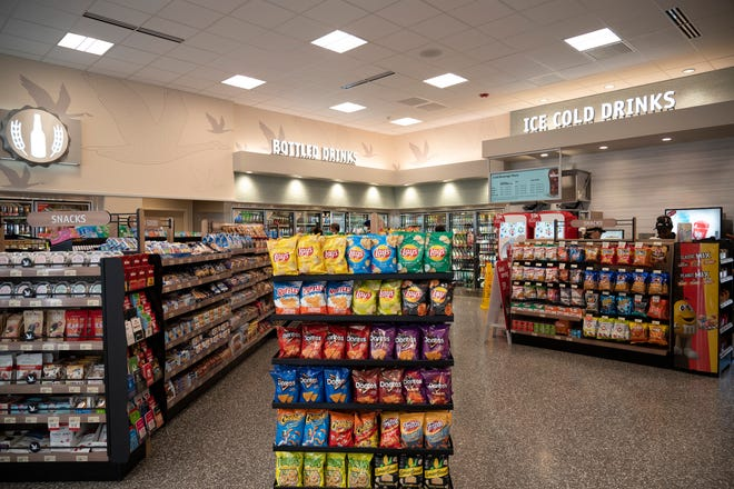 The aisles of a Wawa in Lee, Florida, show the interior being built into all newly constructed locations of the convenience store chain.