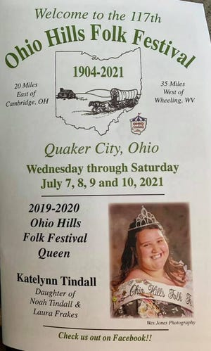 The 117th Ohio Hills Folk Festival is scheduled for July 7-10 in Quaker City.