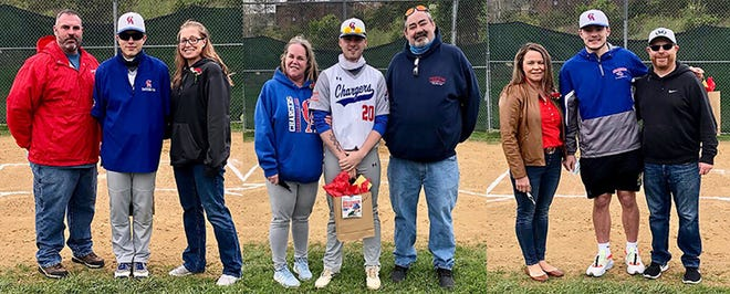 Three Carbondale Area baseball players were recently honored for their diamond contributions over the last four years. Left fielder AJ Adams (at left), right fielder Matthew Heeman (center) and pitcher Raymond Ofner (right) were each feted at the pre-game ceremony.