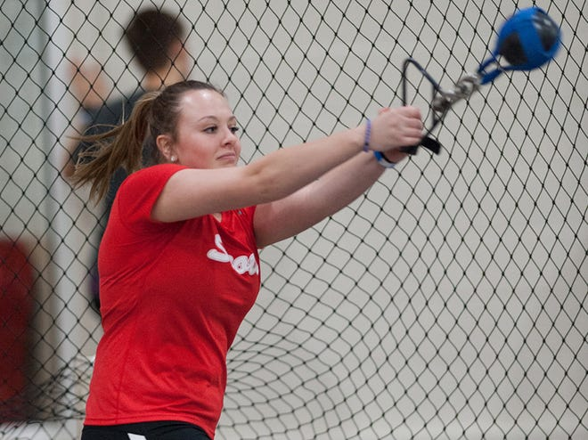Former Monmouth-Roseville athlete Hannah McVey is pictured during the weight throw competition from a past indoor track and field season at Monmouth College.