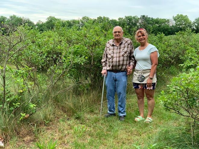 Gene Hoskins, left, of Oquawka, has owned Hoskins U-Pick Blueberry Farm since 1986. His daughter Sondra operates the farm.
