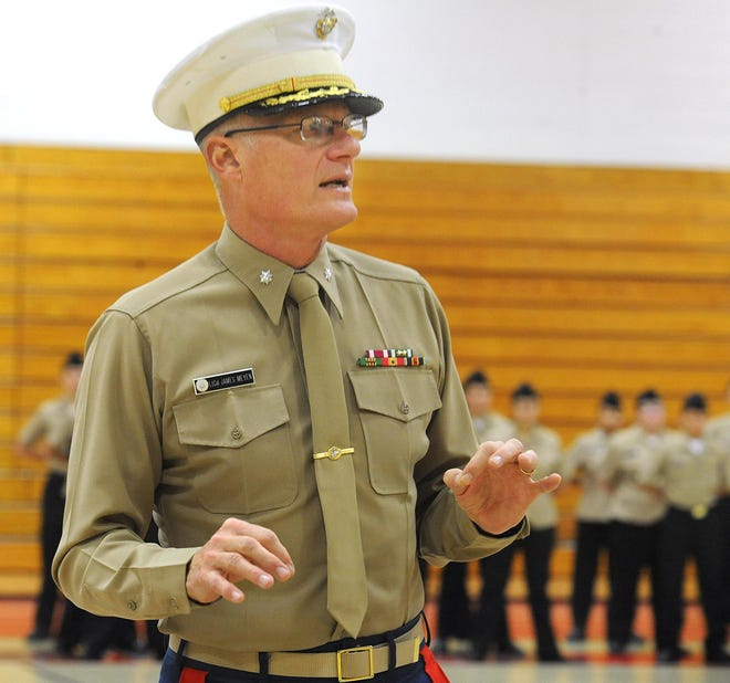 U.S. Marine Corps (Ret) Lt. Colonel James Meyen runs a drill with the B.M.C. Durfee Navy Junior ROTC in this 2017 file photo.