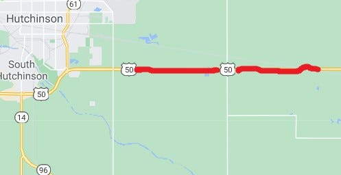 APAC Kansas is scheduled to start a mill and overlay on this 8.2 miles of U.S. 50 on July 15. The project which will reduce traffic to one lane in the work area is expected to take until mid-August