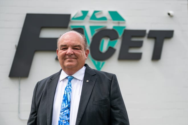 Brian Ford stands outside Facet Technologies' corporate headquarters on Wednesday, June 30, 2021. Ford started the company in 1989 at his kitchen table.