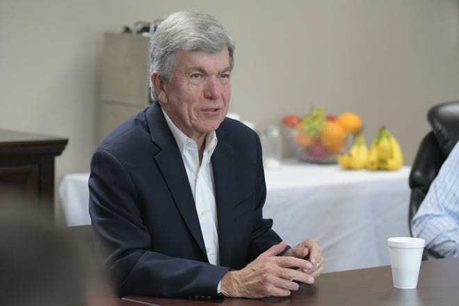 Missouri Senator Roy Blunt speaks during a roundtable discussion held Wednesday at the Macon Electric Cooperative building in Macon.