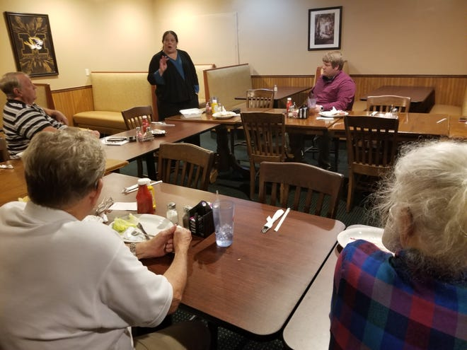 """The Linn County Democrat Club held its June 17, meeting at the Brookfield Cafe. Club president Dennis Van Dyke presided. The guest speaker was Linn County Prosecuting Attorney Shiante McMahon. McMahon stated county assaults and intoxication cases had """"skyrocketed"""" during the COVID pandemic. McMahon said the Linn County Prosecutor's Office, County Court Judges, and local law enforcement have presented mock trials of Little Red Riding Hood and the Threes Little Pigs at all Linn County school second grades. This project is to familiarize students with the judicial system. The next Linn County Democrat Club meeting will be a carry-in meal, Sept. 16, at Brookfield South Park."""
