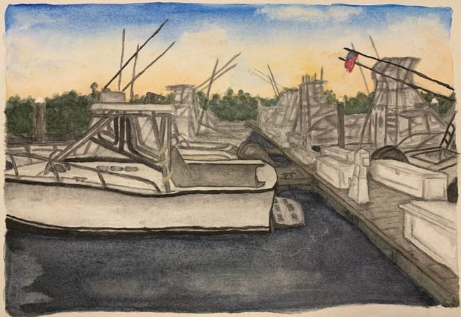 """Middletown resident Lynsie Grant's """"Hammerheads Dock"""" was selected for the annual juried student exhibit at the Freedman Gallery at Albright College in Reading, Pennsylvania."""