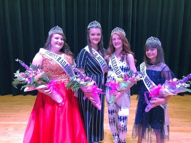 Evelyn Ortman of Moberly, left, was named Miss Railroad Days 2021 at the Moberly festival's pageant during the week of June 16-19. Standing next to her is is Jr. Miss Railroad Days Molly Foster followed by Miss Railroad Days Princess Ashlyn Ancell and Young Miss Railroad Days Isabella Shannon, right