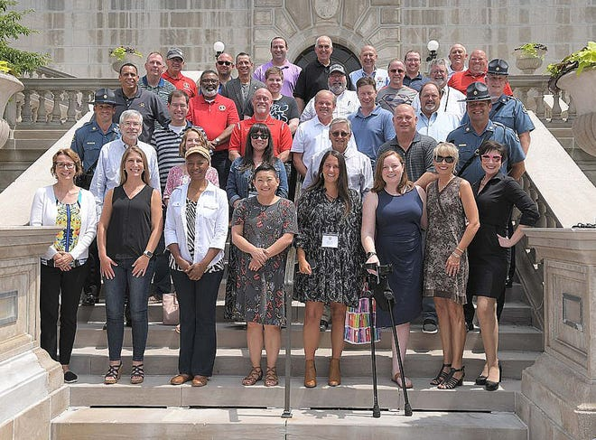 The 2021 freshmen class of Missouri House of Representatives, including 6th District Rep. Ed Lewis, third row second left, pose for a group photo at the state capital in Jefferson City before leaving on one of their statewide tours of some Missouri communities.