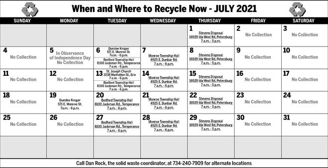 July schedule for free recycling dropoffs in Monroe County.