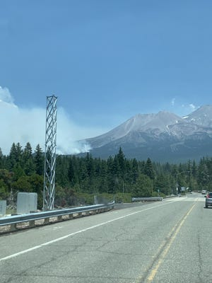 Smoke can be seen approaching the Spring Hill area of Mount Shasta on Wednesday afternoon at about 1:45 p.m.